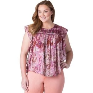 Jessica Simpson Embroidered Flutter Top.